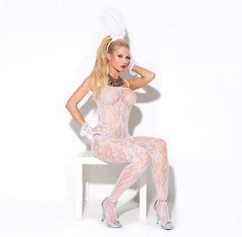 Lace bodystocking with open crotch.