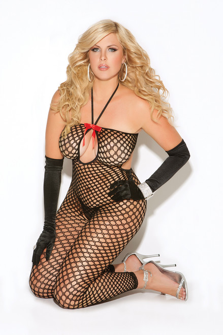 Crochet footless bodystocking with keyhole front and open crotch.