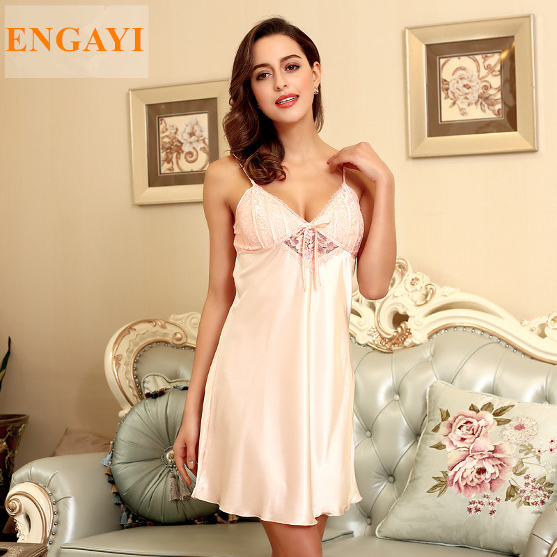 Night Gown Silk Satin Nightdress Lace Spagghettie Straps
