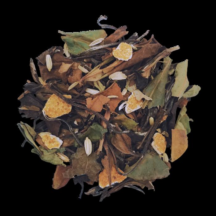 Orange Fennel loose leaf white tea from The Jasmine Pearl Tea Co.