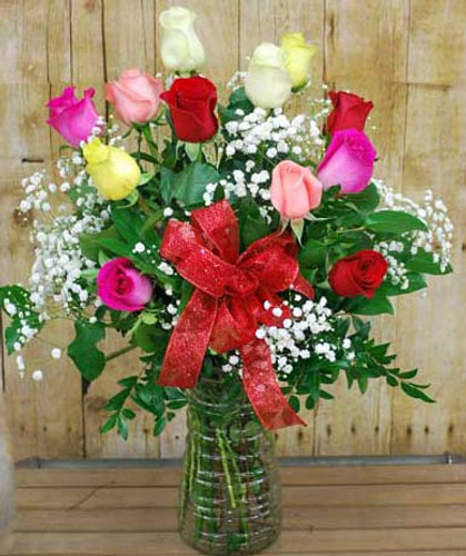 color mixed roses arranged