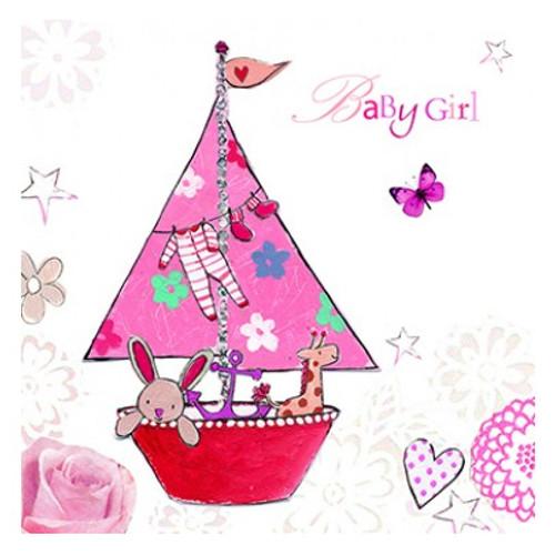 Baby girl pink sailing boat greetings card party savvy baby girl pink sailing boat greetings card m4hsunfo