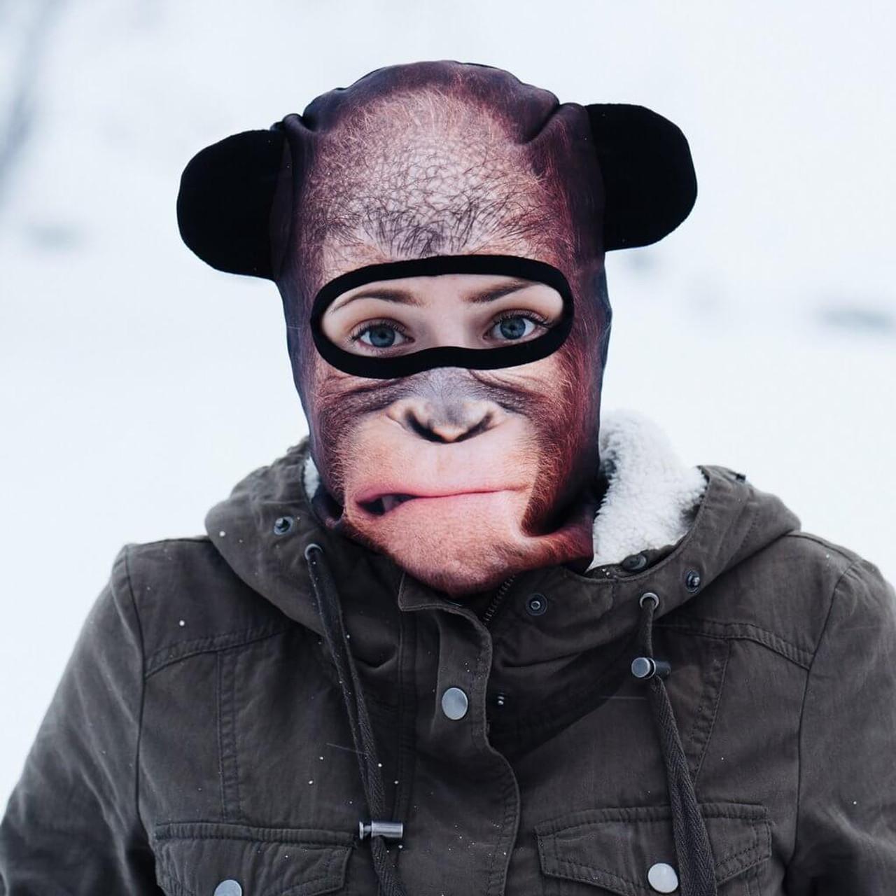 Contemplating Orangutan Winter Snow Mask In Unique Animal