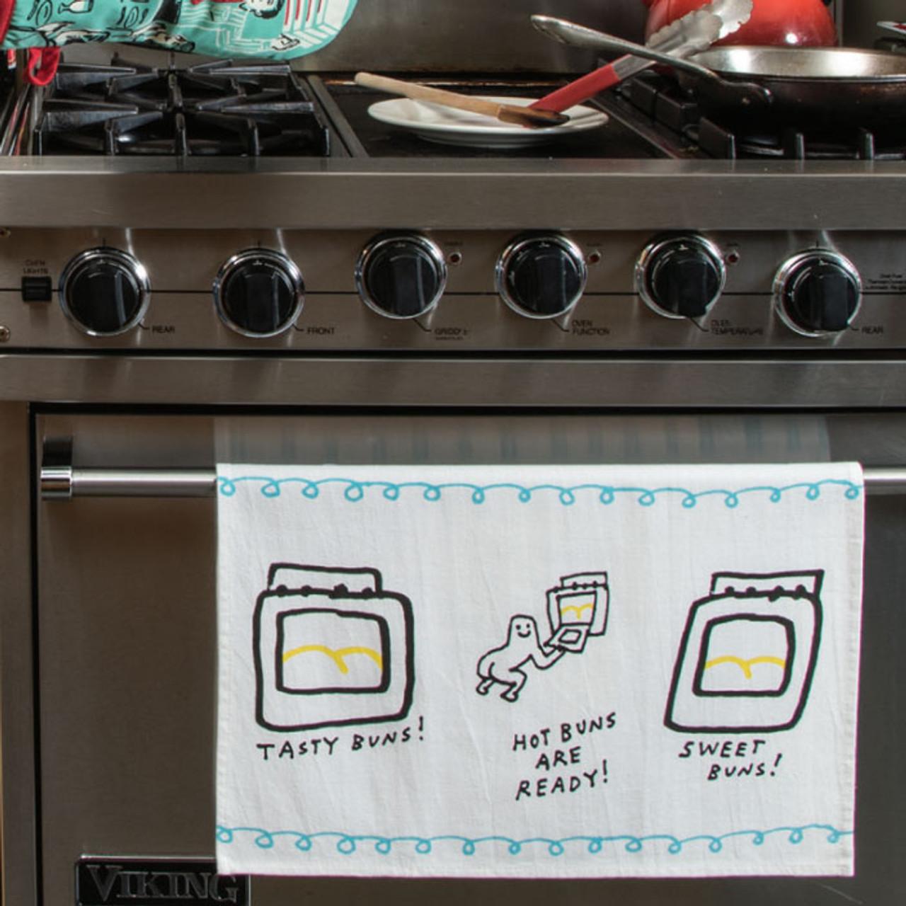 Hot Buns, Tasty Buns, Sweet Buns Are Ready Dish Towel
