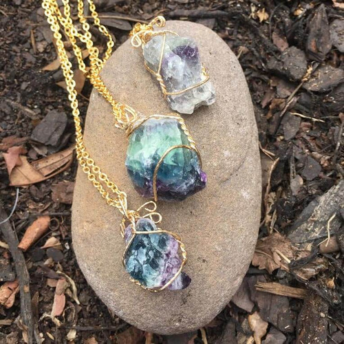 Raw Genuine Fluorite Positive Energy Crystal Necklace