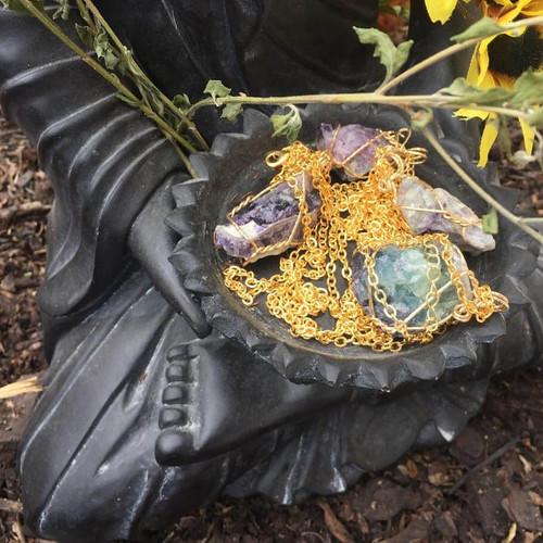 Raw Genuine Fluorite Pendant Necklace