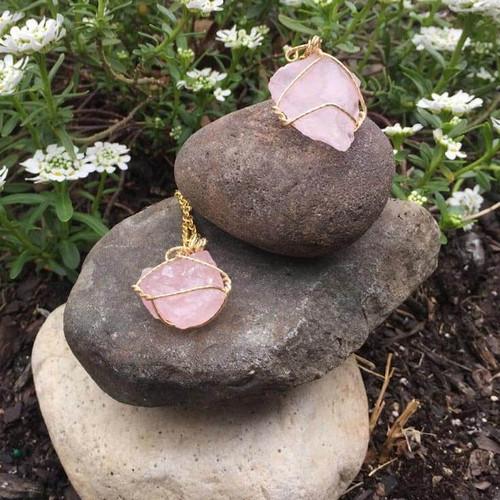 Raw Genuine Rose Quartz Pendant Necklace