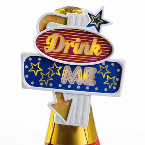 Drink Me Flashing Neon LED Sign Bottle Topper
