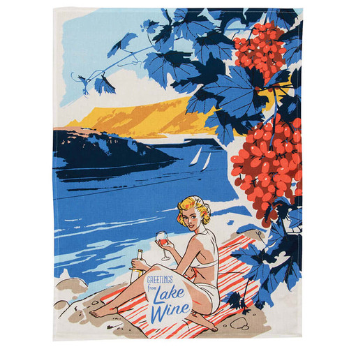 Greetings From Lake Wine Blue Q Dish Towel