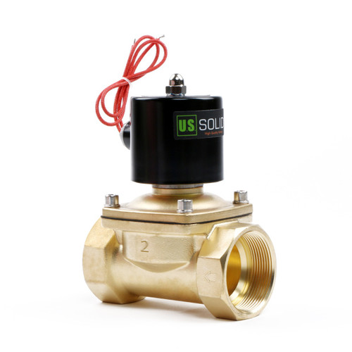 """2"""" Brass Electric Solenoid Valve 12V DC, Normally Closed (Water, Diesel ...)"""