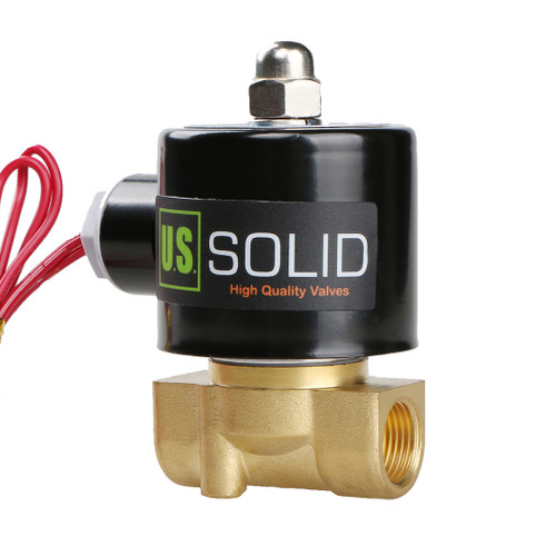 "3/8"" Brass Solenoid Valve 110V AC (Air, Water, Fuel) Normally Closed,  VITON Gasket"
