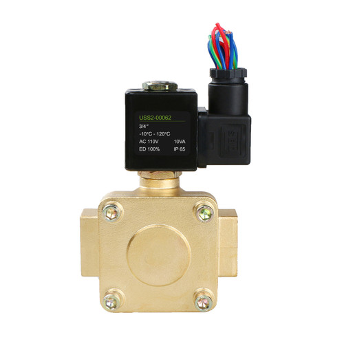 "3/4"" Brass Electric Solenoid Valve 110V AC N.C. Air Water Fuel VITON 230PSI"