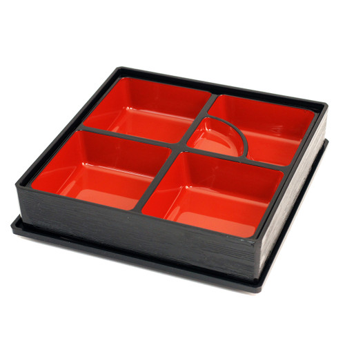 "Black Square Bento Box 10.12"" x 10.12"""