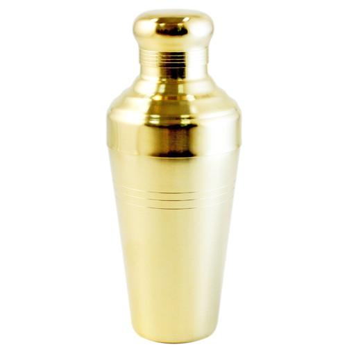 Yukiwa Matte Gold-Plated Baron 3-Piece Cocktail Shaker with Round Cap 510ml (17.2 oz)