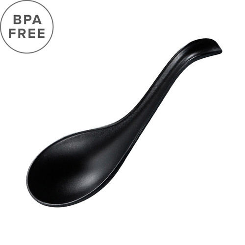 "Melamine Black Matte Renge Ramen Spoon 6.75"" Length"