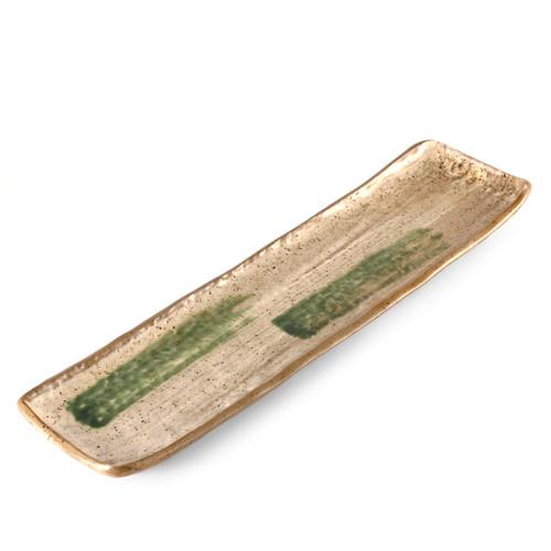 "Rectangular Ivory & Moss Green Sanma Plate 15"" x 3.94"""