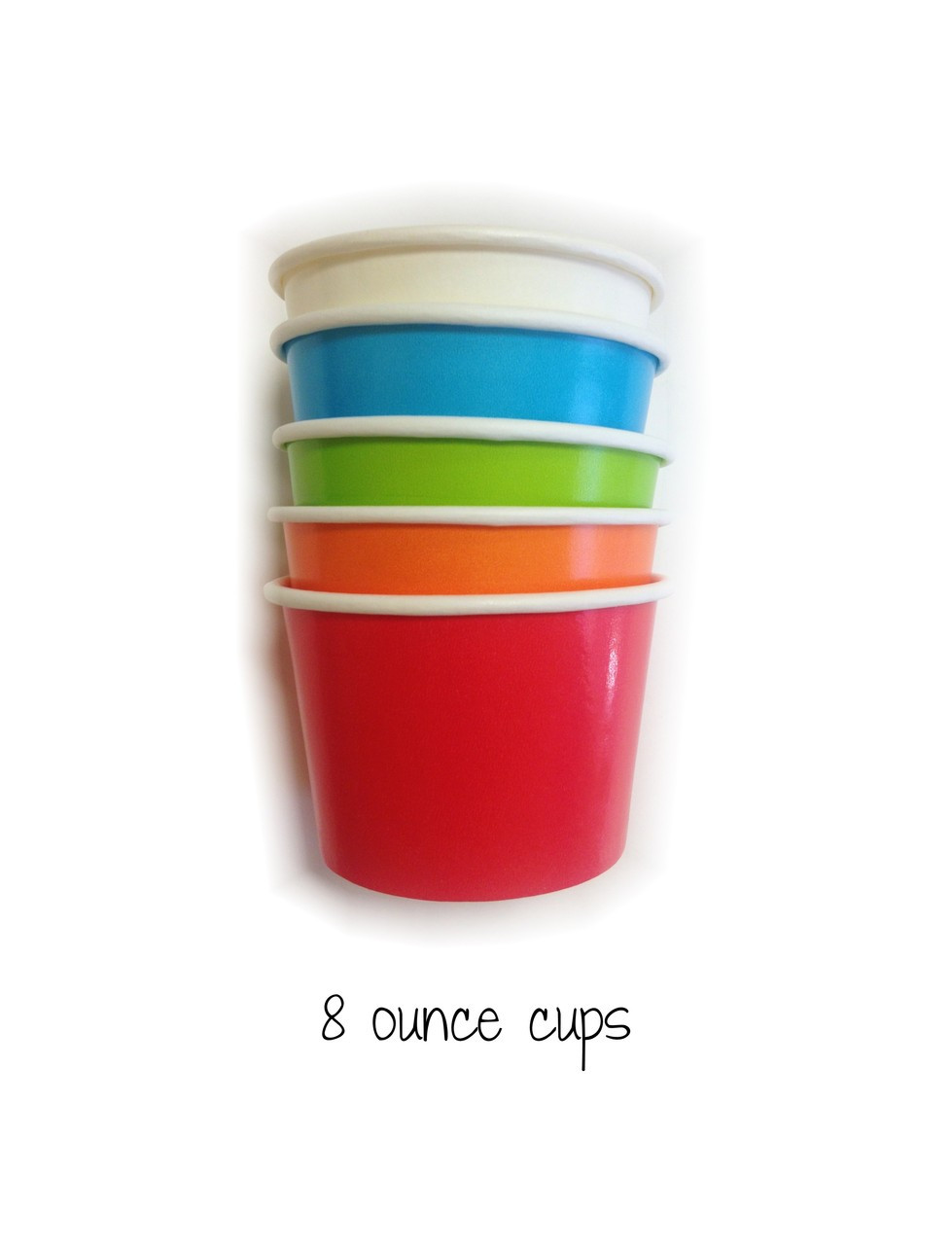 Mixed Color Party Pack Eight Ounce Ice Cream Cups Wooden Spoon Set