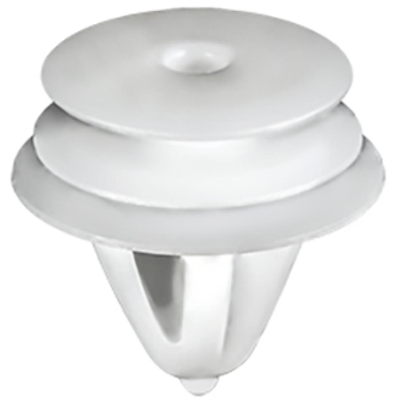 Trim Panel Retainer White Nylon Top Head diameter: 15mm Middle Head Diameter: 16mm Bottom Head Diameter: 18mm Stem Diameter: 10.7mm Stem Length: 12mm Hyundai & Kia 1995 - On OEM# 82315-33020 50 Per Box
