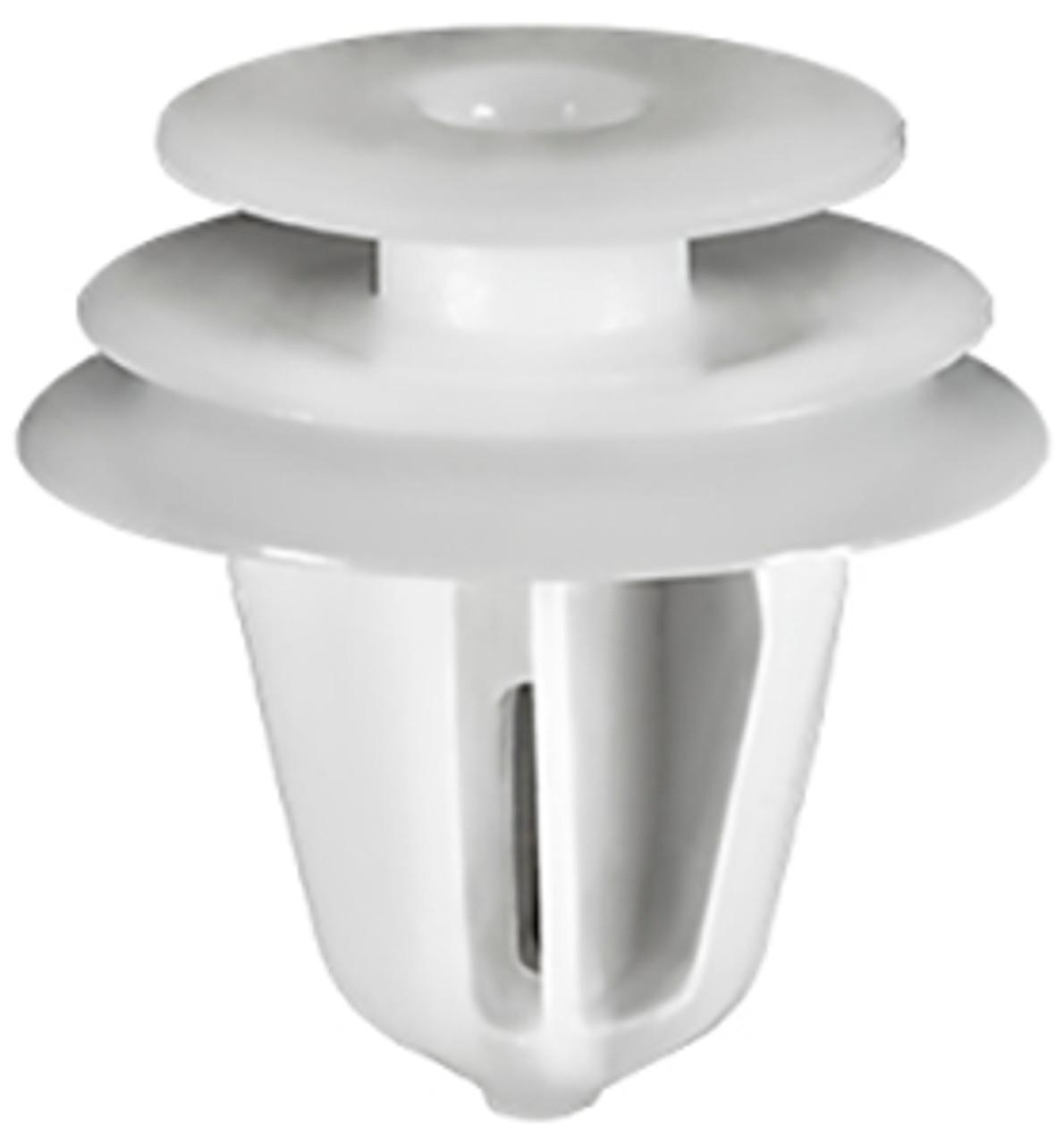 Trim Panel Retainer White Nylon Top Head Diameter: 13mm Middle Head Diameter: 16mm Bottom Head Diameter: 18mm Stem Diameter: 9mm Stem Length: 15mm Hyundai Accent 1999 - 95 OEM# 82315-2P000 50 Per Box