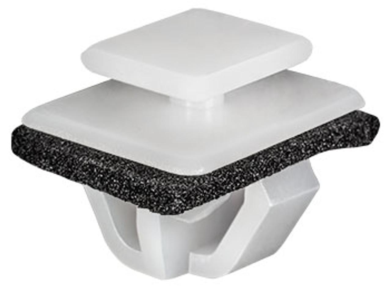 Moulding Clip With Sealer White Nylon Top Head Size: 10mm x 12mm Bottom Head Size: 14mm x 18mm Stem Length: 10mm Hyundai Accent, Kia Soul & Mitsubishi Outlander 2006 - On OEM# 87758-35010 15 Per Box