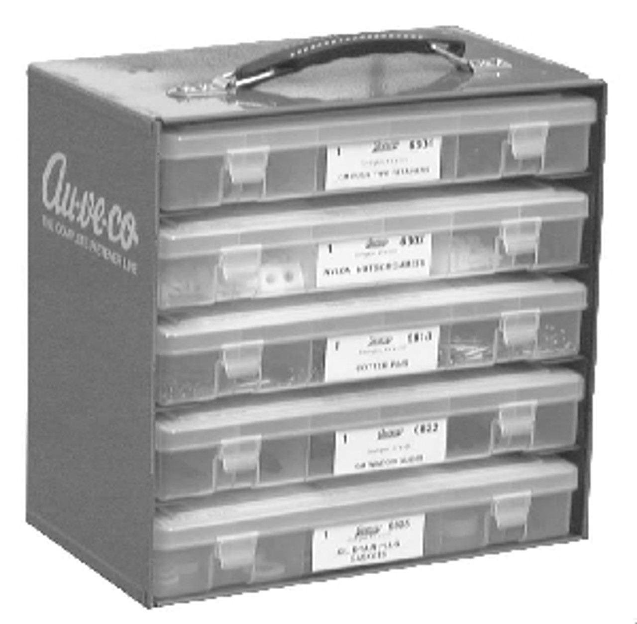 Will hold 5 Quick Select Kits 11-1/4 wide X 6-3/4 Deep x 10-3/4 Wide Grey enamel finish Includes Carry Handle and Wall Mount Slots