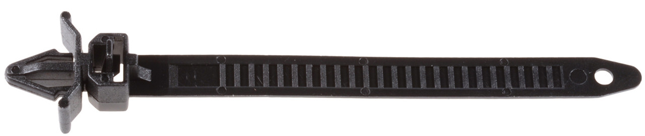 """Cable Tie Strap Length: 110mm (4-3/8"""") Max Bundle Diameter: 25mm (1"""") Fits Into 7mm Hole Releasable Mazda OEM# 9928-90-753 Black Nylon 15 Per Package"""