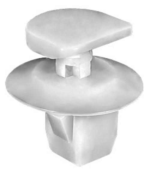 Tail light Clip White Nylon Top Head Size: 13mm x 13mm Bottom Head Diameter: 19mm Stem Length: 10mm Infiniti M37, M56 & M Hybrid 2013 - On Nissan Armada, Juke, Pathfinder, Sentra & Versa 2006 - On OEM# 26398-ED000 25 Per Box