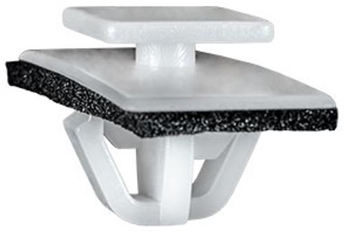 Rocker Moulding Clip With Sealer White Nylon Top Head Size: 12mm x 15mm Bottom Head Size: 14mm x 36mm Stem Diameter: 14mm Stem Length: 10mm Hyundai Tiburon OEM# 87770-27000 25 Per Box