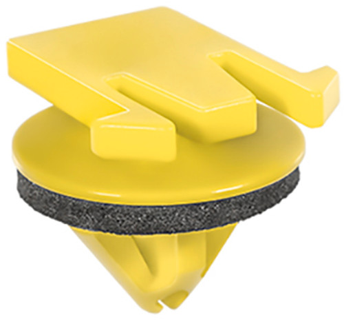 Lower Door Moulding Clip With Sealer Yellow Nylon Top Head Size: 12.5mm x 20mm Bottom Head Diameter: 18mm Stem Length: 11mm Fits Into 9mm Hole Cadillac SRX 2010 - On OEM# 11570847 10 Per Box