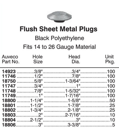 "14923 Flush Plastic Hole Plug - 3/8""Hole"