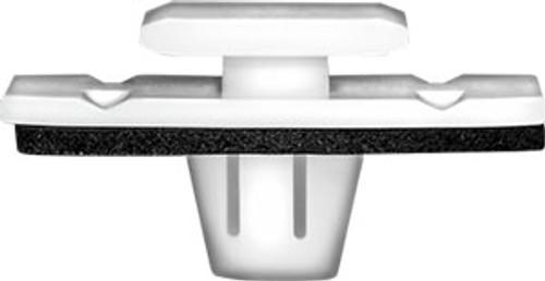 Top Head Size: 12mm x 15mm Bottom Head Size: 14mm x 30mm White Nylon Stem Length: 9mm Acura & Honda Crosstour, Pilot & Ridgeline 2013 - On Honda OEM# 75315-TP6-A01 25 Per Box