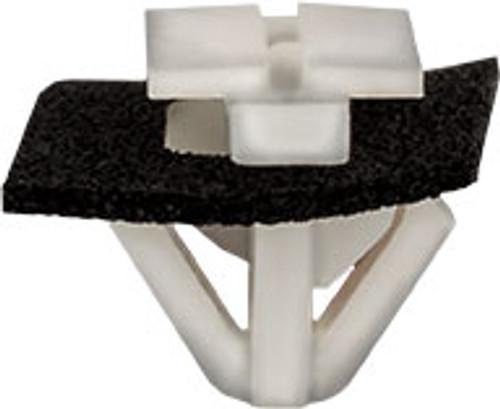 Door Trim, Roof & Spoiler Molding Clip Head Size: 9mm x 18.3mm Stem Length: 10mm White Nylon Hyundai Azera, Equus, Genesis, Sonata, Tucson & Veloster and Kia Soul 2006 - On Hyundai OEM# 87715-3K000 25 Per Box
