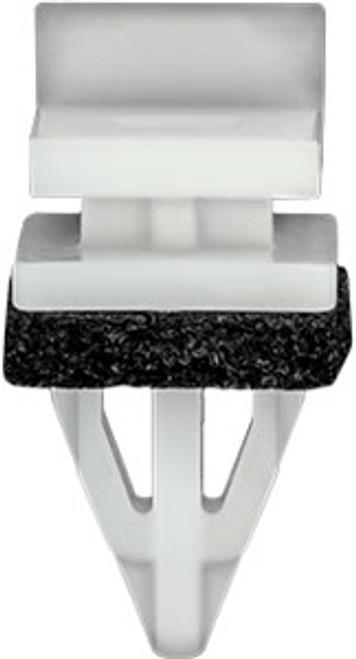 Rocker, Pillars, Floor & Exterior Trim Molding Clip With Sealer Top Head Size: 12mm x 11mm Bottom Head Size: 13mm x 13mm White Nylon Stem Length: 16mm Honda Odyssey & Ridgeline 2011 - On Honda OEM# 91513-TK8-A01 25 Per Box