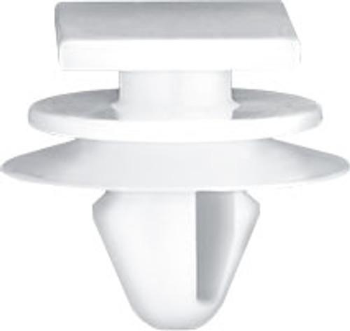 Door Scuff Plate Top Head Size: 12mm x 17mm Middle Head Diameter: 15mm White Nylon Bottom Head Diameter: 18mm Stem Diameter: 8.5mm Stem Length: 9mm Lexus GX 460, GX 470 & LX 570  2003 - On Lexus OEM# 51787-60070 25 Per Box