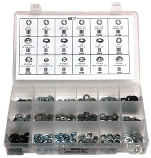 Washer Type Nuts & Push-On Retainers 385 Pieces