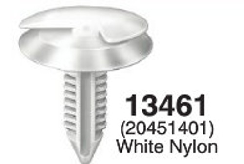 "Retains Conduit To Sheet Metal In Doors - GM Head Diameter: 15/16"" Stem Diameter: 5/16"" Stem Length: 1-1/8 OEM# 20451401 White Nylon 25 Per Box Click Next image For Clip Detail"