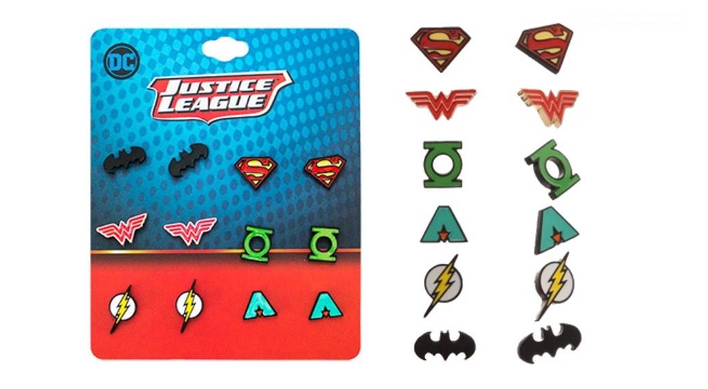 DC Comics Classic Justice League Logos 6 Pack Earring Set