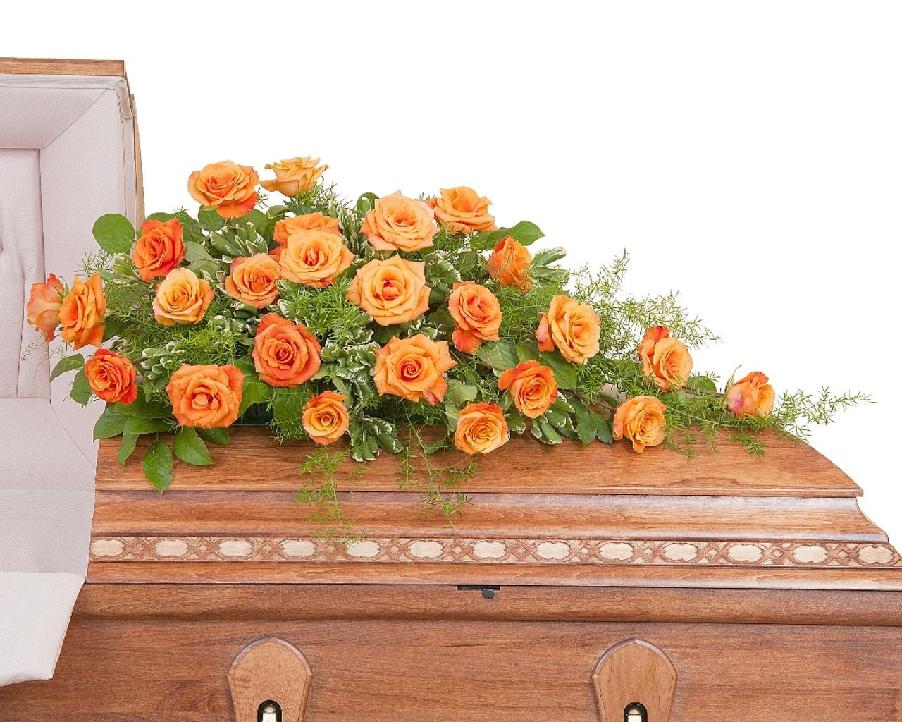 Orange rose casket spray abbott florist orange rose casket spray mightylinksfo