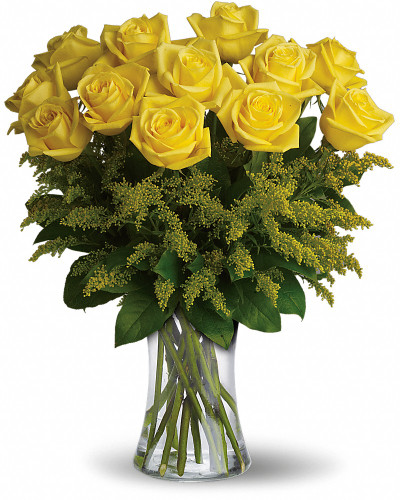 What a bright idea! Send a summery treat to someone special with this cheerful bouquet of one dozen yellow roses. A happy pick for your fellow yellow-lover!
