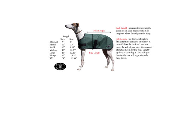 Windhorse Dog Coat sizing chart makes it quick and easy to choose the size your pup needs!