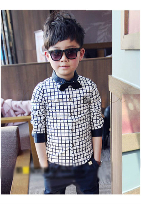 Checkered Long Sleeves Bow