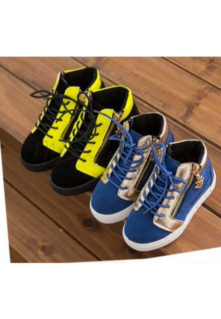Casual 2 Tone Zipper Kid Shoes