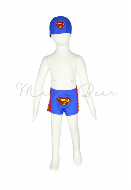 Kids Superman Trunks with Swimming Cap