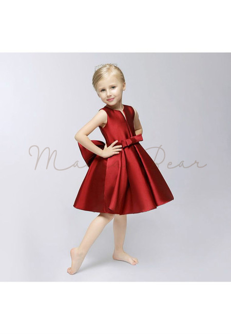 Red Satin Kid Flare Dress