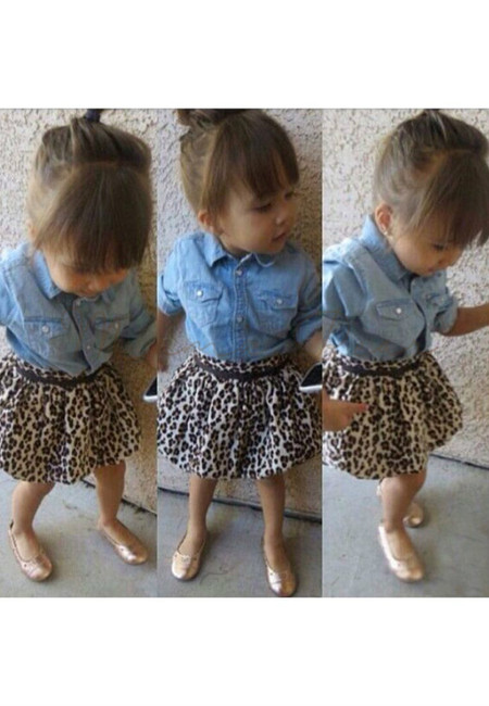 Long Denim Top and Leopard Skirt Set