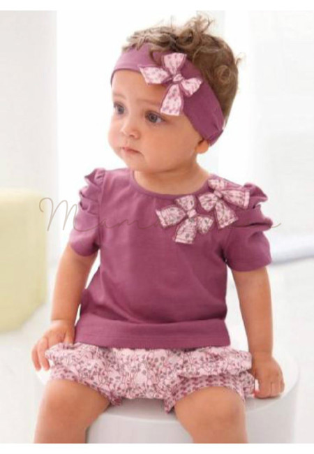 Floral Patterned Baby Top and Shorts Set