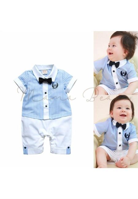 Casual Stripes w/ Bow Tie Babysuit