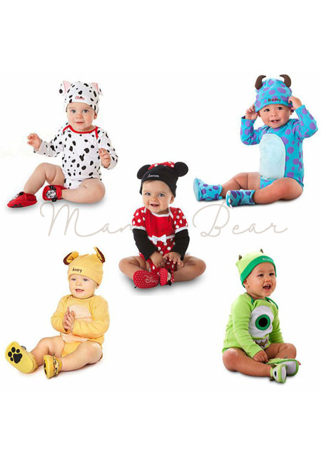 Cartoon Babysuit and Hat Set