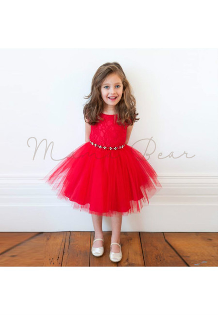 Red Floral Lace Tutu Dress