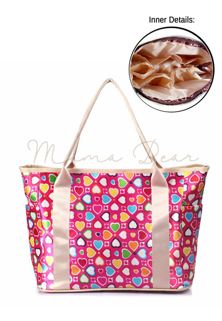 Mommy's Multifunctional Baby Diaper Organizer Bag (Heart print)